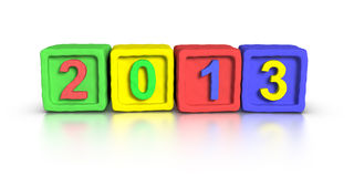 New Year 2013. Made with 3D plasticine material Cubes Stock Image