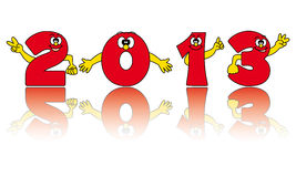 New year 2013. Funny numbers and reflection Royalty Free Stock Image