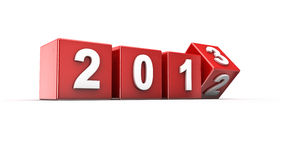 New year 2013. New year 2012 to 2013 concept in 3d Stock Photo