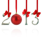 New year 2013. 2013 calendar ornaments hanging on red ribbons royalty free stock photography