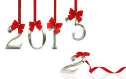 New year 2013. 2013 hanging on red ribbons stock photos