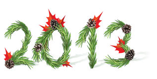 New Year 2013. Christmas and New Year tree decoration - 2013 Royalty Free Stock Images