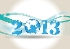 New Year 2013. Cute card on New Year 2013 with globe Royalty Free Stock Image