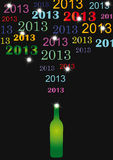 New Year 2013. Cooncept card on New Year 2013 with champagne Stock Image