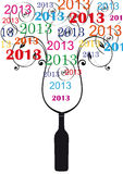 New Year 2013. Cooncept card on New Year 2013 with champagne Royalty Free Stock Photos
