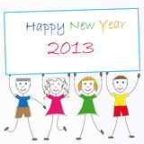 New Year 2013. Cute card on New Year 2013 with happy kids Royalty Free Stock Photos