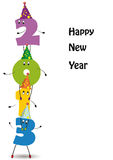 New Year 2013. Cute card on New Year 2013 with funny numbers Stock Photos