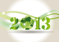 New Year 2013. Cute card on New Year 2013 with green globe Royalty Free Stock Photo