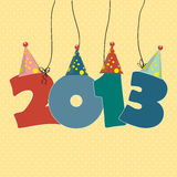New Year 2013. Cute card on New Year 2013 with funny numbers Royalty Free Stock Images