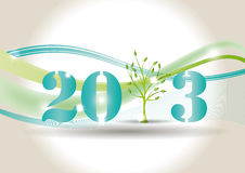 New Year 2013. Cute card on New Year 2013 with green tree Royalty Free Stock Images