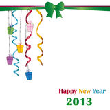 New Year 2013. Cute and elegant card on New Year 2013 with ribbons Stock Images