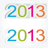 New Year 2013. Cute and colorful sticker on New Year 2013 Stock Photos