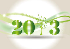 New Year 2013. Cute card on New Year 2013 with green tree Stock Photo