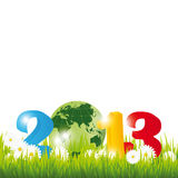 New Year 2013. Cute card on New Year 2013 with globe Royalty Free Stock Photography