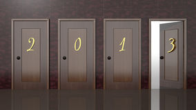 New year 2013. 3d doors with new year 2013 numbers Stock Images