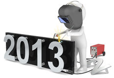 New Year 2013. 3D little human character the Welder, changing Year Number. People series Royalty Free Stock Photos