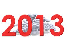 New year of 2013. Rendered artwork with white background stock illustration
