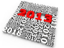 New Year 2013. Years in a square, 2013 highlighted by red Royalty Free Stock Photo