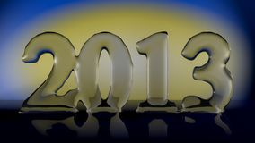 New Year 2013. Translucent number on a yellow and blue background Stock Photos