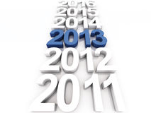New year 2013. 3D Render of the new year 2013 and other years Royalty Free Stock Photos