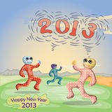 New year 2013. Cartoon illustration for new year 2013 Stock Photo