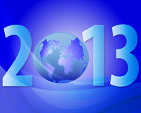 New Year 2013. Blue christmas background with the numbers 2013 stock illustration