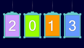 New year 2013. In colorful hanging boards on black background stock illustration