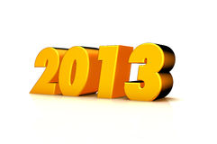 New year 2013. 3D Image Of 2013 (Yellow) On Soft White Background With Years Increasing Royalty Free Stock Image