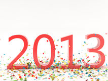 New Year 2013. Render pf a 2013 red Christmas text with a lot of colorful confetti Vector Illustration