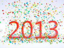 New Year 2013. Render pf a 2013 red Christmas text with a lot of colorful confetti Stock Illustration