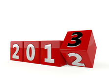New year 2013. Year 2012 change to 2013 on white Stock Photo