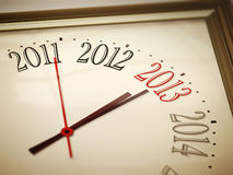 New year 2013. An image of a nice clock with 2011 2012 2013 2014 Stock Images