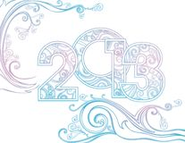 New year 2013. In white snow background. Gentle Vector illustration Royalty Free Stock Photography