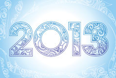 New Year 2013. In blue snow background. Gentle Vector illustration Stock Image