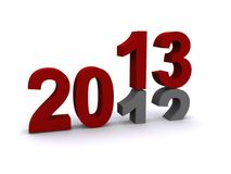 New Year 2013. New Year sign with date changing from 2012 to 2013, white background Stock Photos