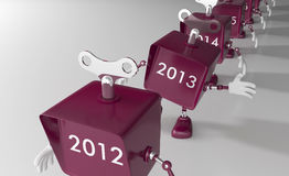 New Year 2013 is approaching. Little mechanical toy robots Royalty Free Illustration