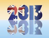 New Year 2013 Australia Flag Illustration. Happy New Year 2013 Silhouette with Australia Flag Illustration Royalty Free Stock Photos