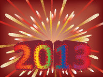 New year 2013 background. With fireworks royalty free illustration