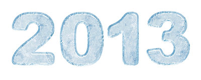 New Year 2013 background. New Year 2013 inscription of ice letters. There is a clipping path Royalty Free Stock Photo