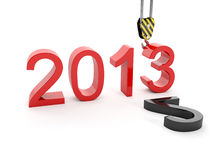 New Year 2013. Building a hook puts the figur. 3d illustration of New Year 2013. Building a hook puts the figure three Royalty Free Stock Image