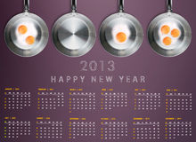 New year 2013 Calendar. With conceptual image of Fried eggs in a frying pans creating 2013 year number Royalty Free Stock Photos