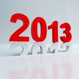 New year 2013 calendar text. New year 2013 changing shiny red on white background Stock Photo