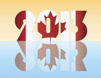 New Year 2013 Canada Flag Illustration. Happy New Year 2013 Silhouette with Canada Flag Illustration Royalty Free Stock Images