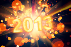 New year 2013 card. With burning sparkler as the background royalty free illustration