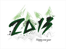New year 2013 card with christmas tree. New year 2013 card with green christmas tree stock illustration