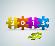 New Year 2013 card made from puzzle. New Year 2013 card made from colorful puzzle pieces  illustration Royalty Free Stock Photography