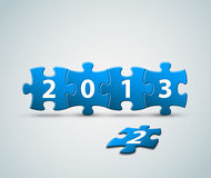 New Year 2013 card made from puzzle pieces. Vector illustration stock illustration