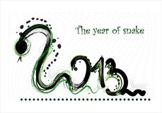 New year 2013 card  with snake. New year 2013 card  with green snake Stock Photos