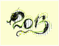 New year 2013 card  with snake. New year 2013 greeting  card  with black snake Stock Images