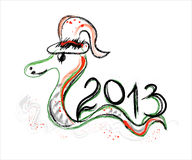 New year 2013 card with snake. New year 2013 card with green snake Royalty Free Stock Image